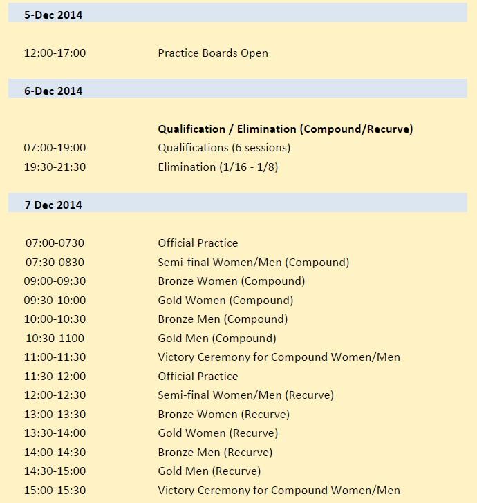 インドアアーチェリーバンコク2014スケジュール